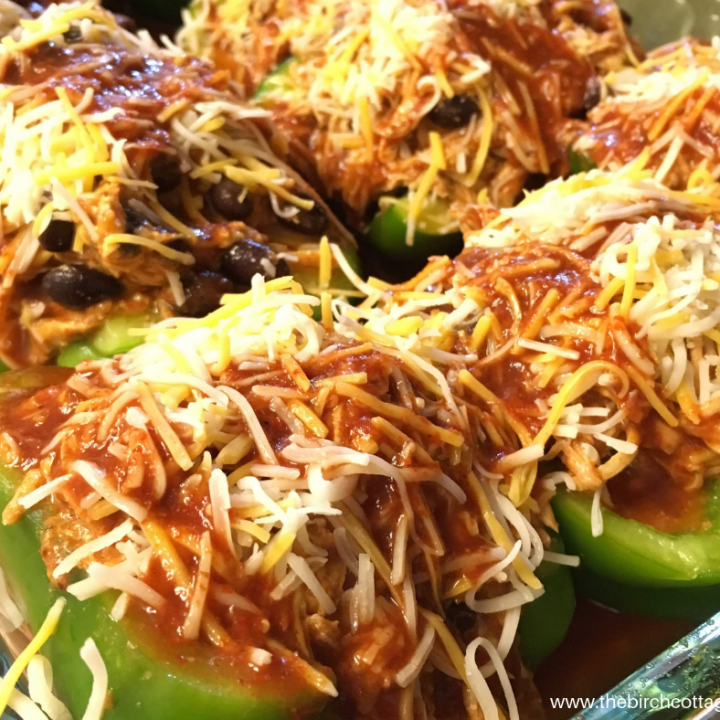 Low Carb Chicken Enchilada Stuffed Peppers Recipe by The Birch Cottage