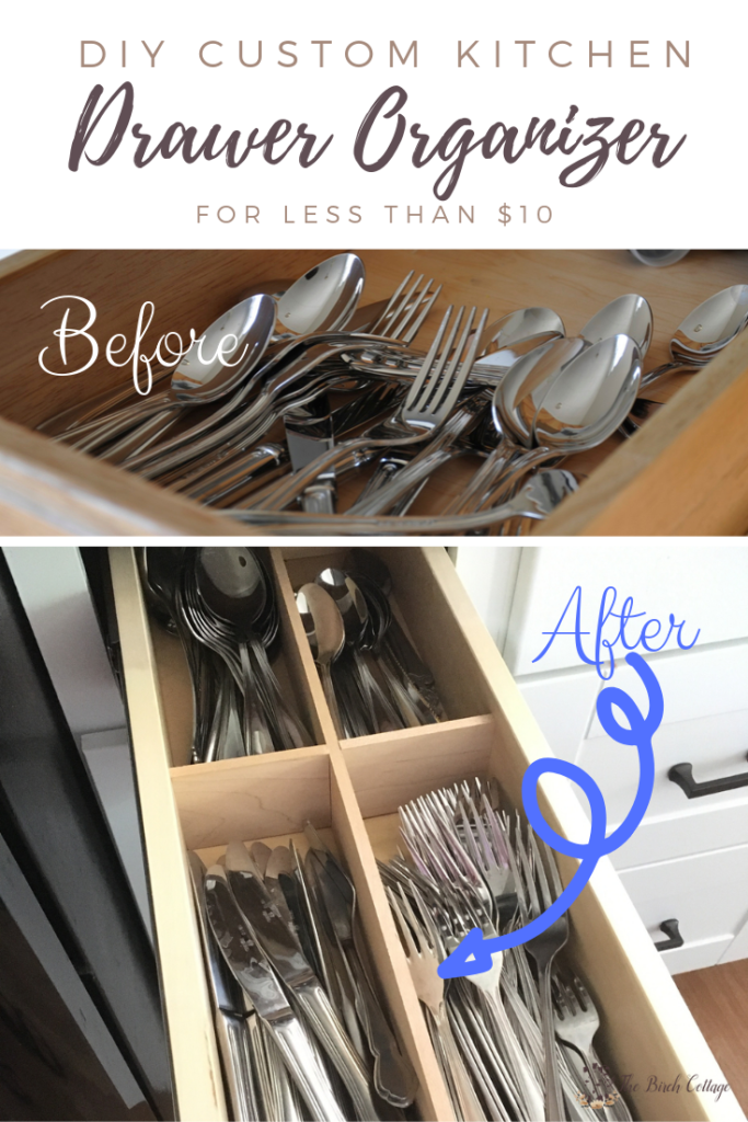 Learn to make this DIY custom kitchen drawer organizer for less than $10.
