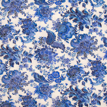White & Blue Floral & Paisley Cotton Calico Fabric from Hobby Lobby