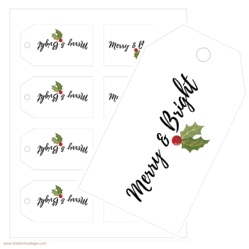 Merry and Bright Christmas Gift Tags by The Birch Cottage