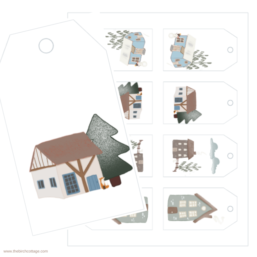 Scandinavian Houses Christmas Gift Tags by The Birch Cottage
