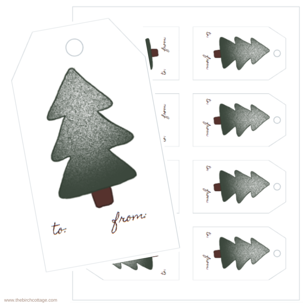 Stamped Christmas Tree Gift Tags by The Birch Cottage