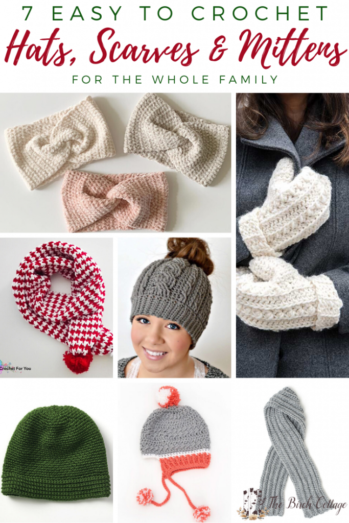 These 7 easy to crochet hats, scarves and mittens for the whole family are free crochet patterns and just in time for holiday gift making!
