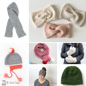 7 Easy to Crochet Hats Scarves and Mittens Patterns by The Birch Cottage