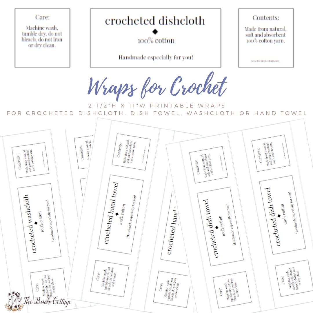 Crocheted washcloth, hand towel, dish towel and dishcloth wraps