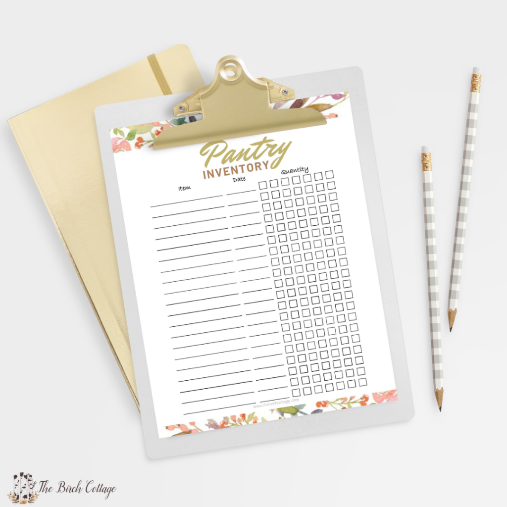 Free printable home inventory sheets for pantry, kitchen, refrigerator, freezer, laundry, cleaning supplies and miscellaneous.