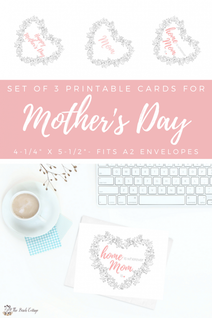 3 cards with Happy Mother's Day sentiments, cup of coffee and computer keyboard