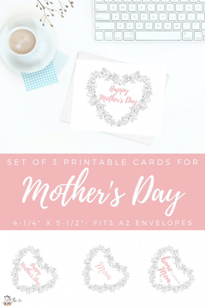 set of 3 cards with Happy Mother's Day, Mom and home is wherever mom is and computer keyboard