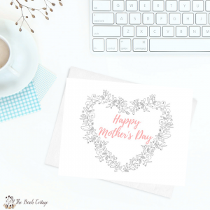 Happy Mother's Day card, cup of coffee and keyboard