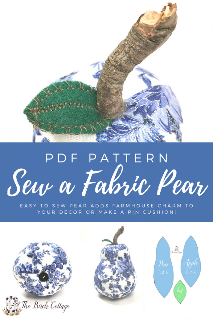 blue and white fabric pear with pear pattern