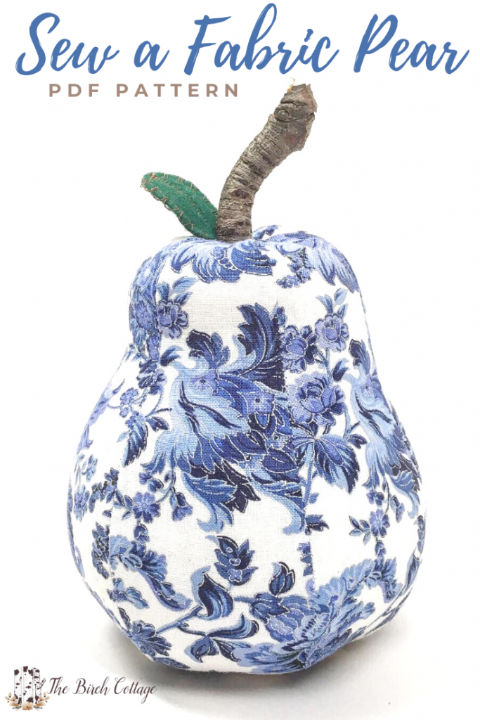 blue and white fabric pear