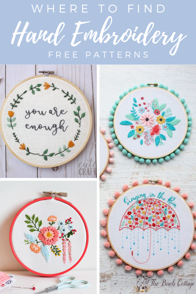 picture of hand embroidery projects in embroidery hoops