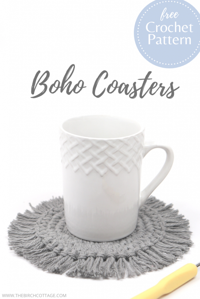 Coffee cup with crochet boho coaster