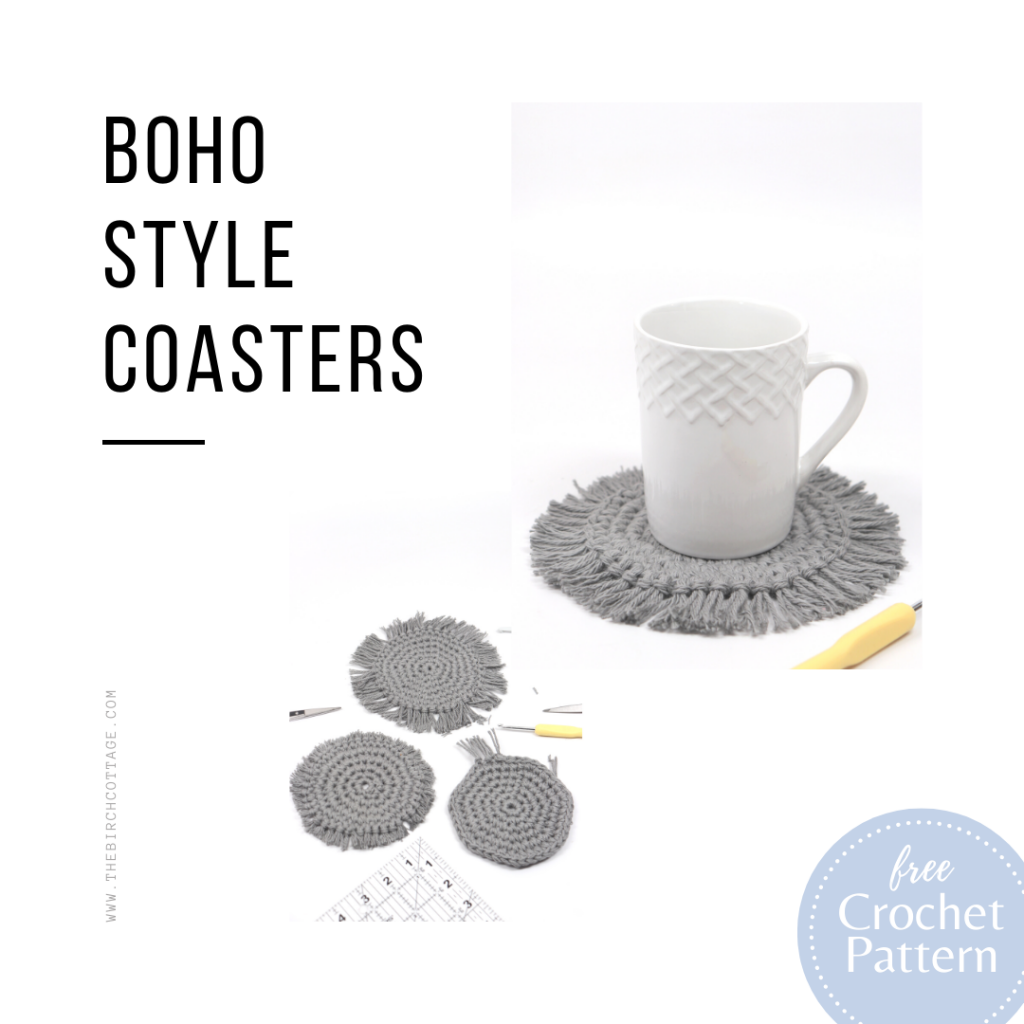 Add a touch of boho style to your home decor with this easy boho style crochet coaster pattern. The fringe edge just completes these boho coasters!