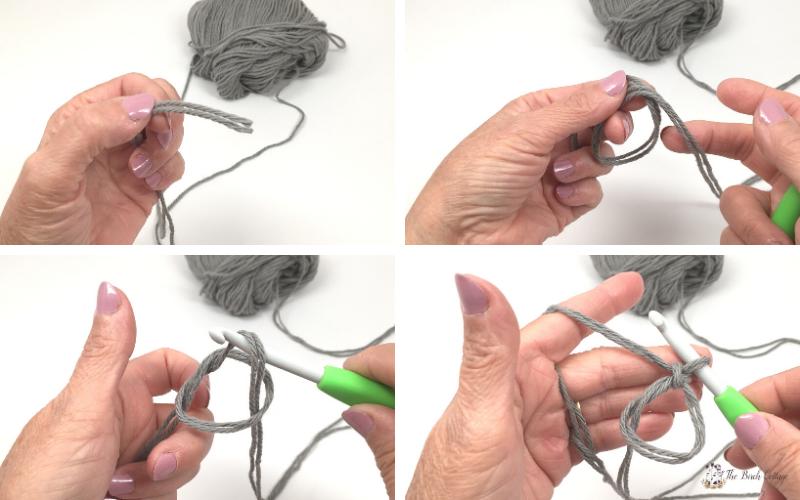 Cotton yarn, crochet hook, how to crochet magic circle