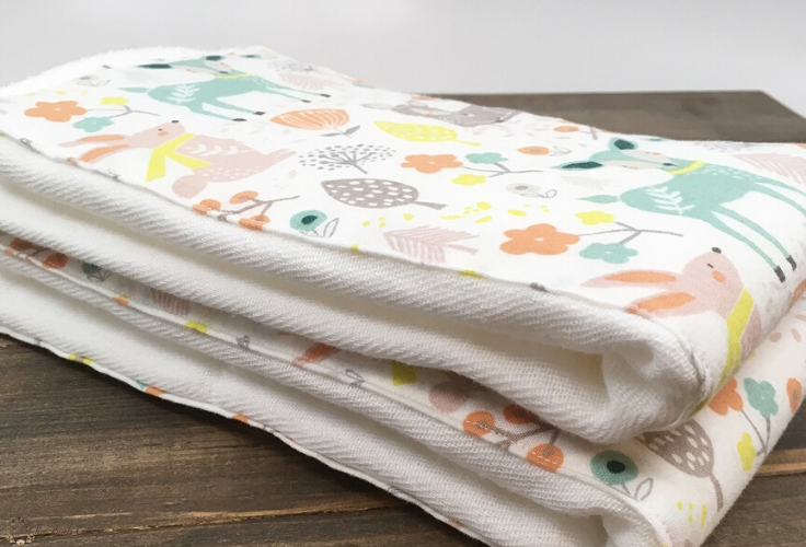folded burp cloths