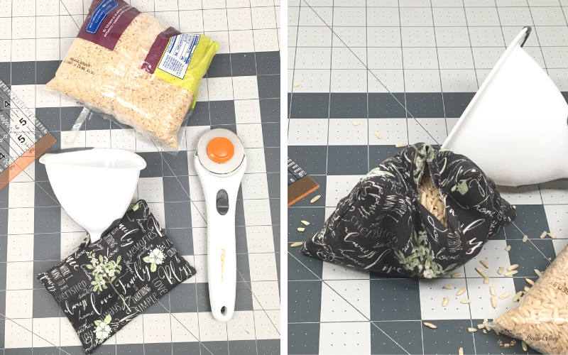 rice, funnel, rotary cutter and mat, fabric and ruler