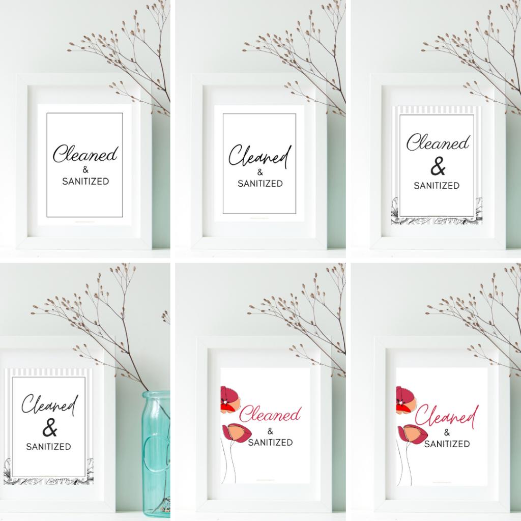 set of 6 Cleaned & Sanitized framed prints