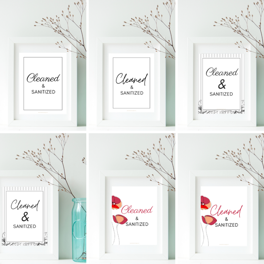 Print this free set of Cleaned and Sanitized signs for your in your office, work place, medical facility or home to indicate when surfaces or rooms have been cleaned and sanitized.