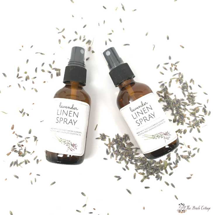 Use homemade lavender linen spray on your bed pillows for a good night's sleep! Lavender essential oil is believed to contain sedating properties.