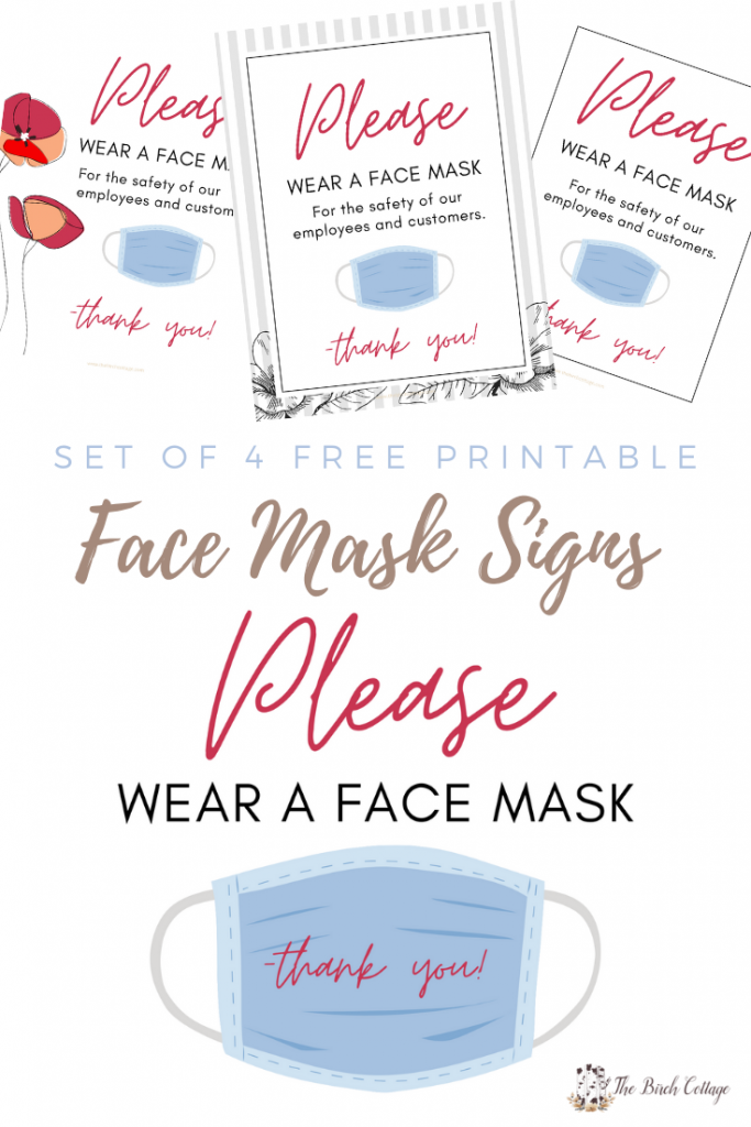 4 wear a face mask signs
