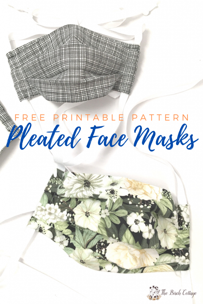 Download this free printable Pleated Face Mask Pattern complete with opening for filter pocket and casings for drawstrings or elastic.