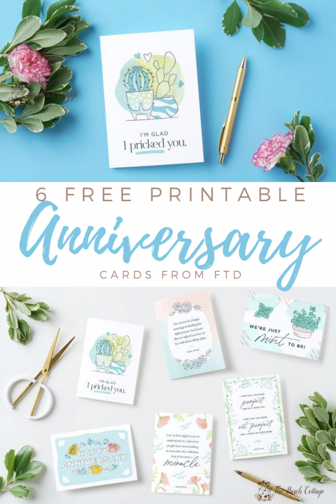 six printable anniversary cards