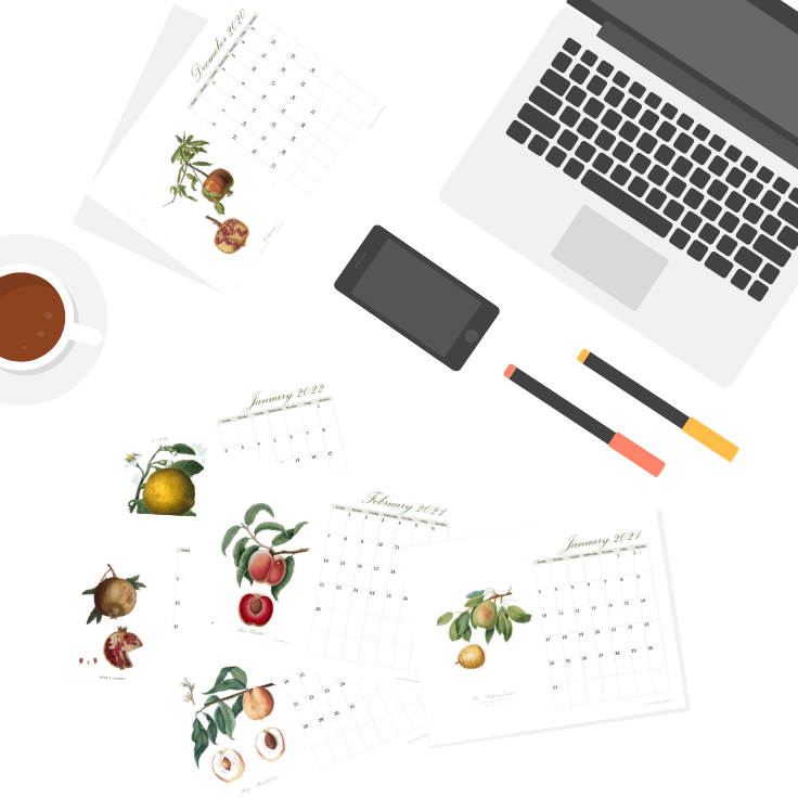 2021 Printable Monthly Calendar with Vintage Fruit Illusrations