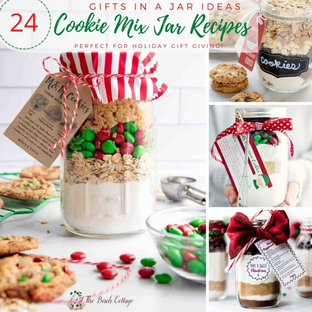 A collection of cookie mix in a jar recipe ideas for your handmade Christmas gift giving. Plus some bonus brownie and hot cocoa mix in a jar recipes!