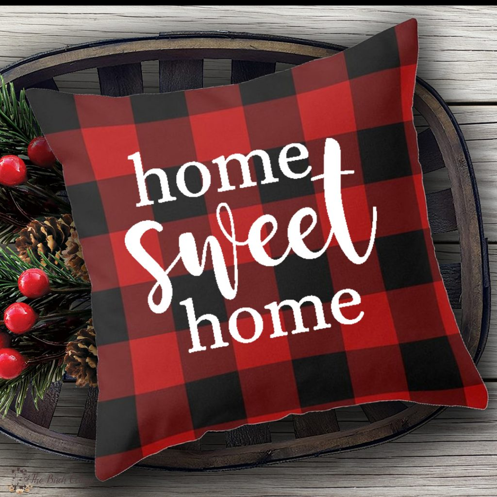 red plaid pillow with home sweet home