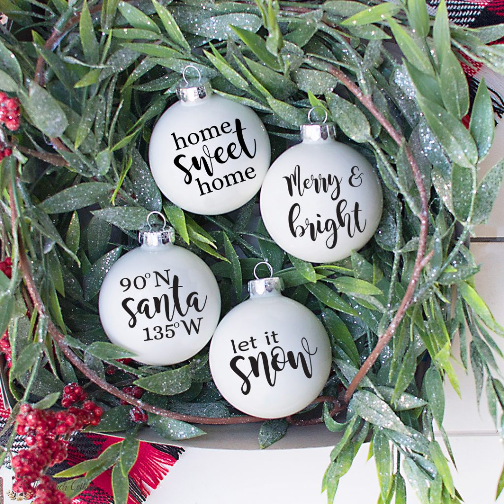 four Christmas SVG files including Merry & bright, let it snow, home sweet home and 90N Santa 135 W