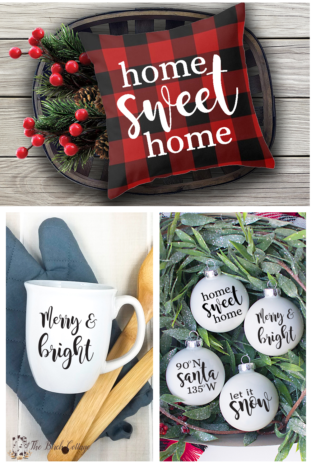Four Christmas SVG Files for use with Cricut or Silhouette Cutting Machines