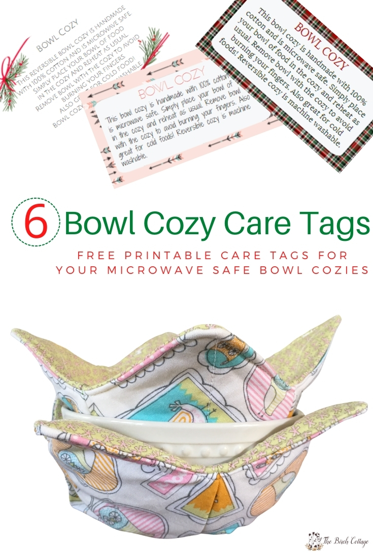 Download this set of six printable microwave safe bowl cozy care tags and include with your handmade microwave safe bowl cozies.