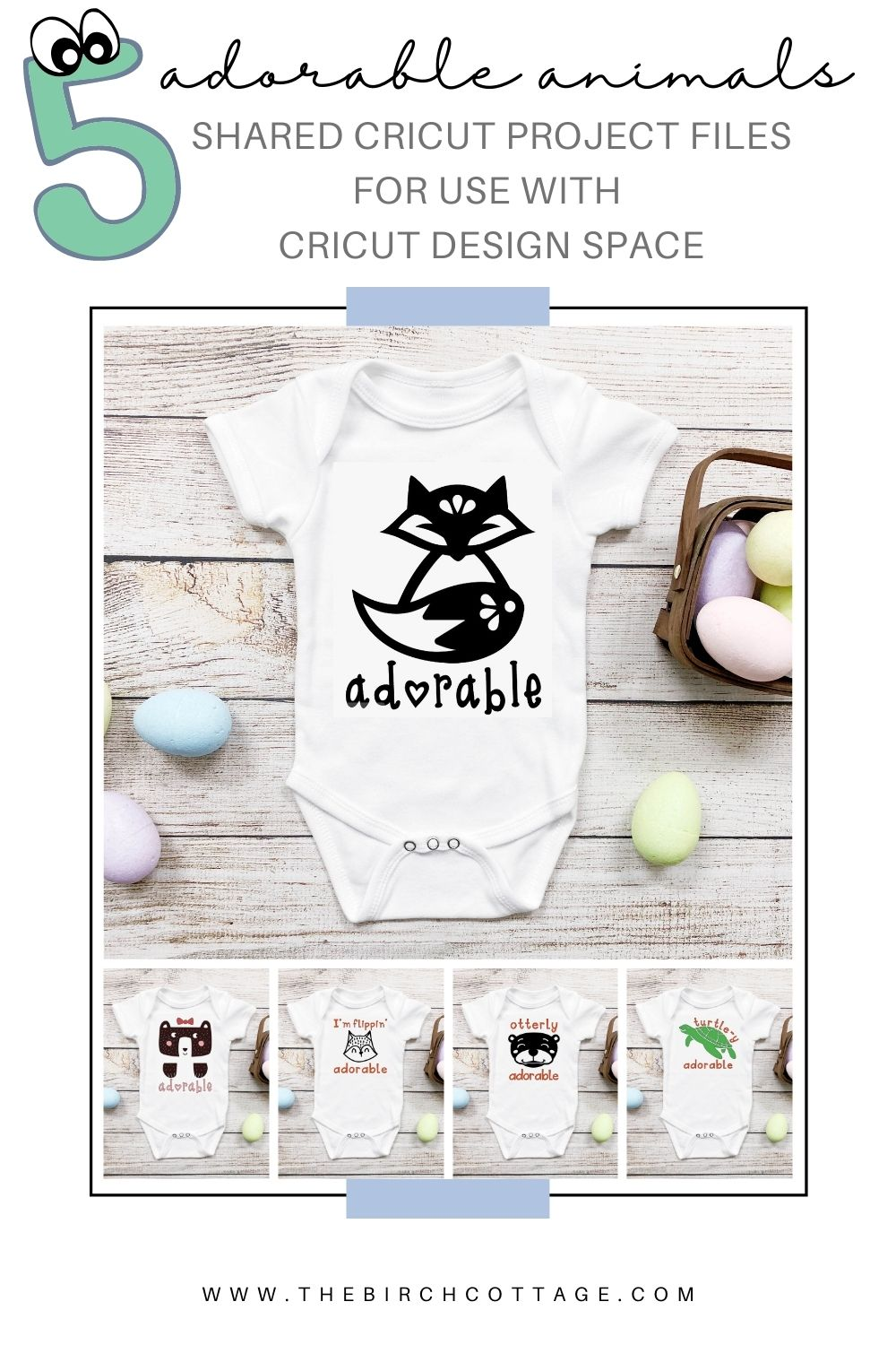 5 baby onesies with otter, turtle, fox or bear designs