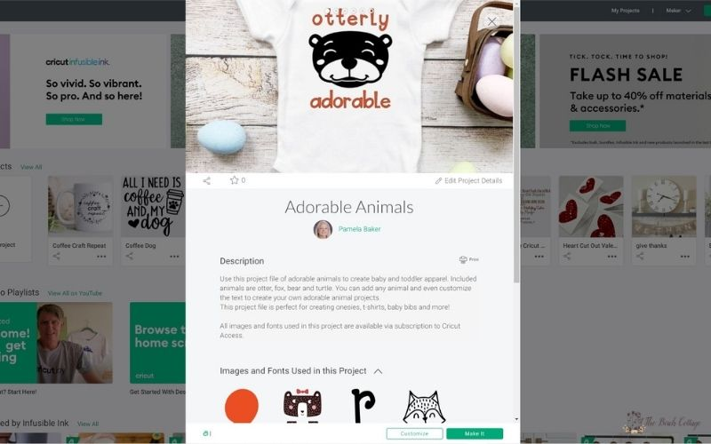 Cricut Design Space screenshot of project file for Adorable Animals