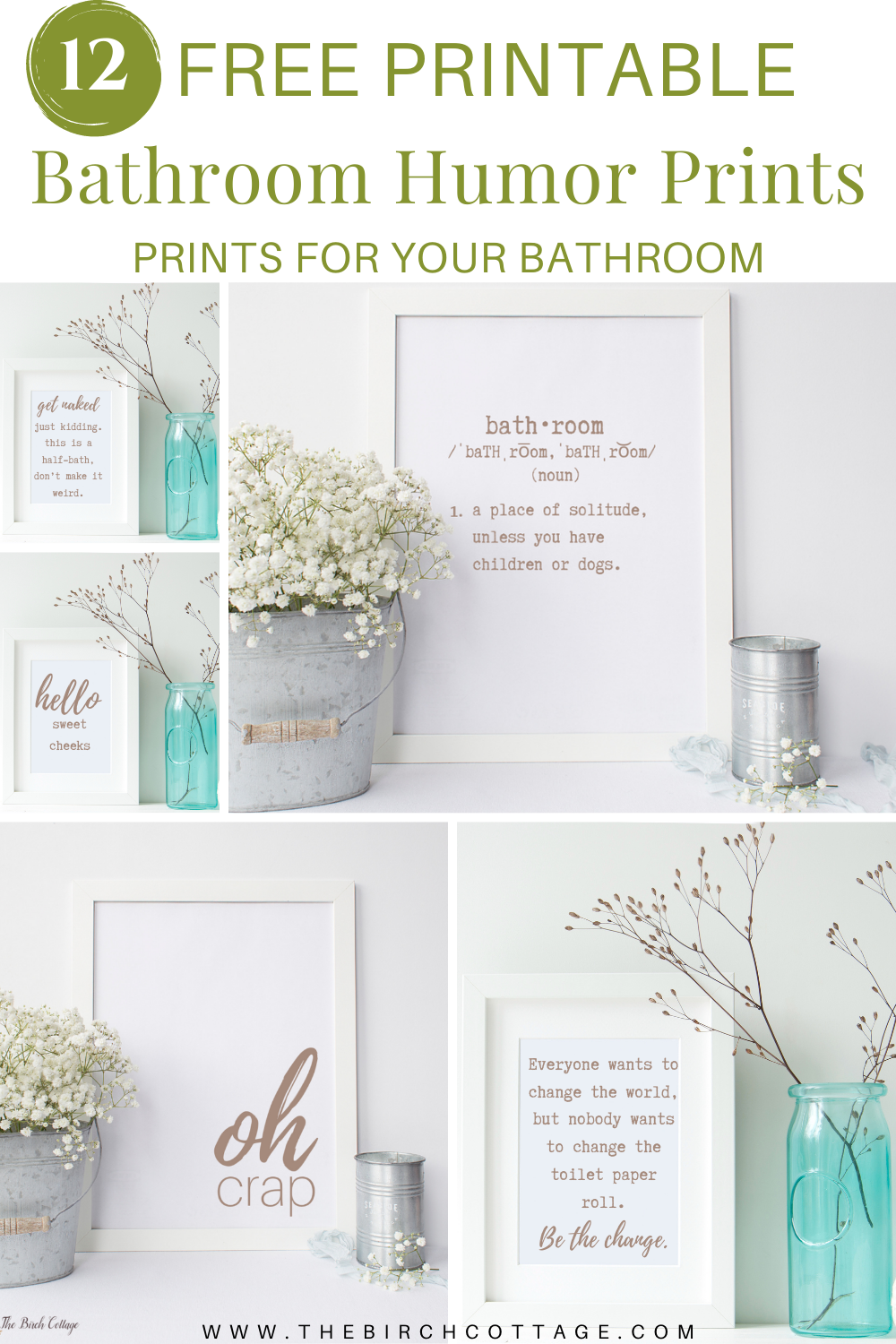 Add a little touch of whimsy, fun and humor to your bathroom decor with these 12 free printable bathroom humor prints. Funny, light-hearted and free!
