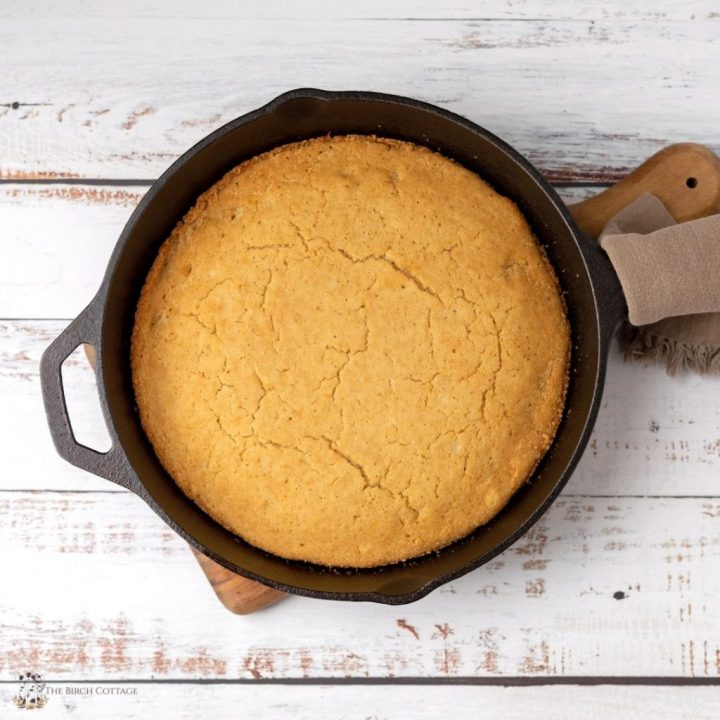 One of my favorite childhood recipes is my mom's cast iron skillet cornbread. This recipe uses box corn muffin mix.
