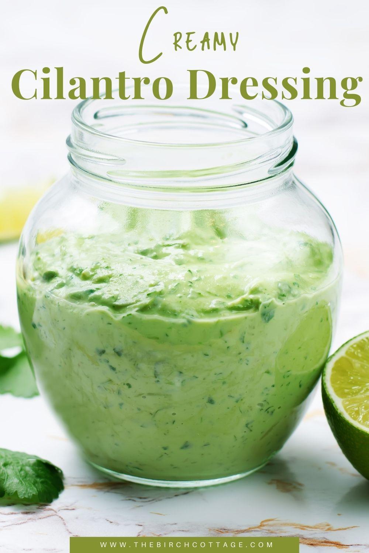 cilantro dressing in a jar