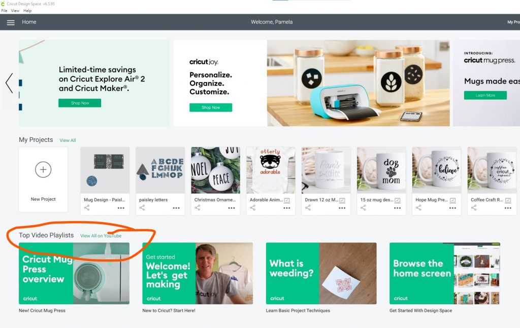 screenshot of Cricut Design Space with Top Video Playlists