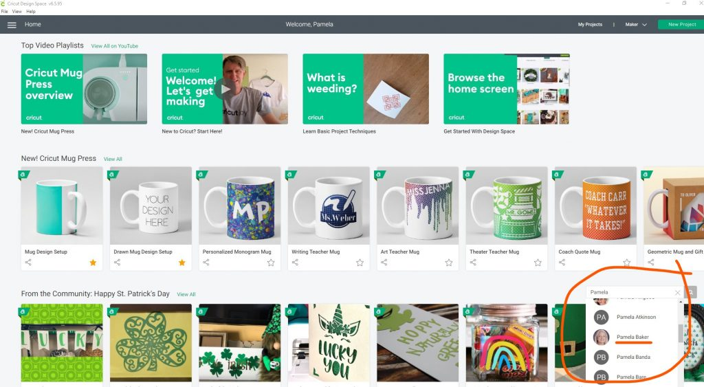 Screenshot of Cricut Design Space with From the Community search