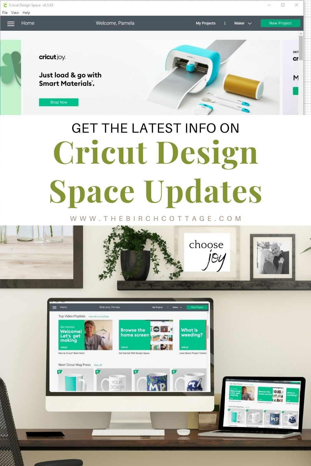 Cricut Design Space welcome screen displayed on laptop