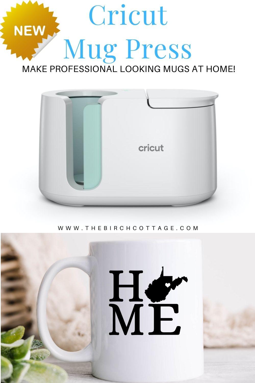 "Cricut mug press machine and coffee mug with ""HOME"" and West Virginia"