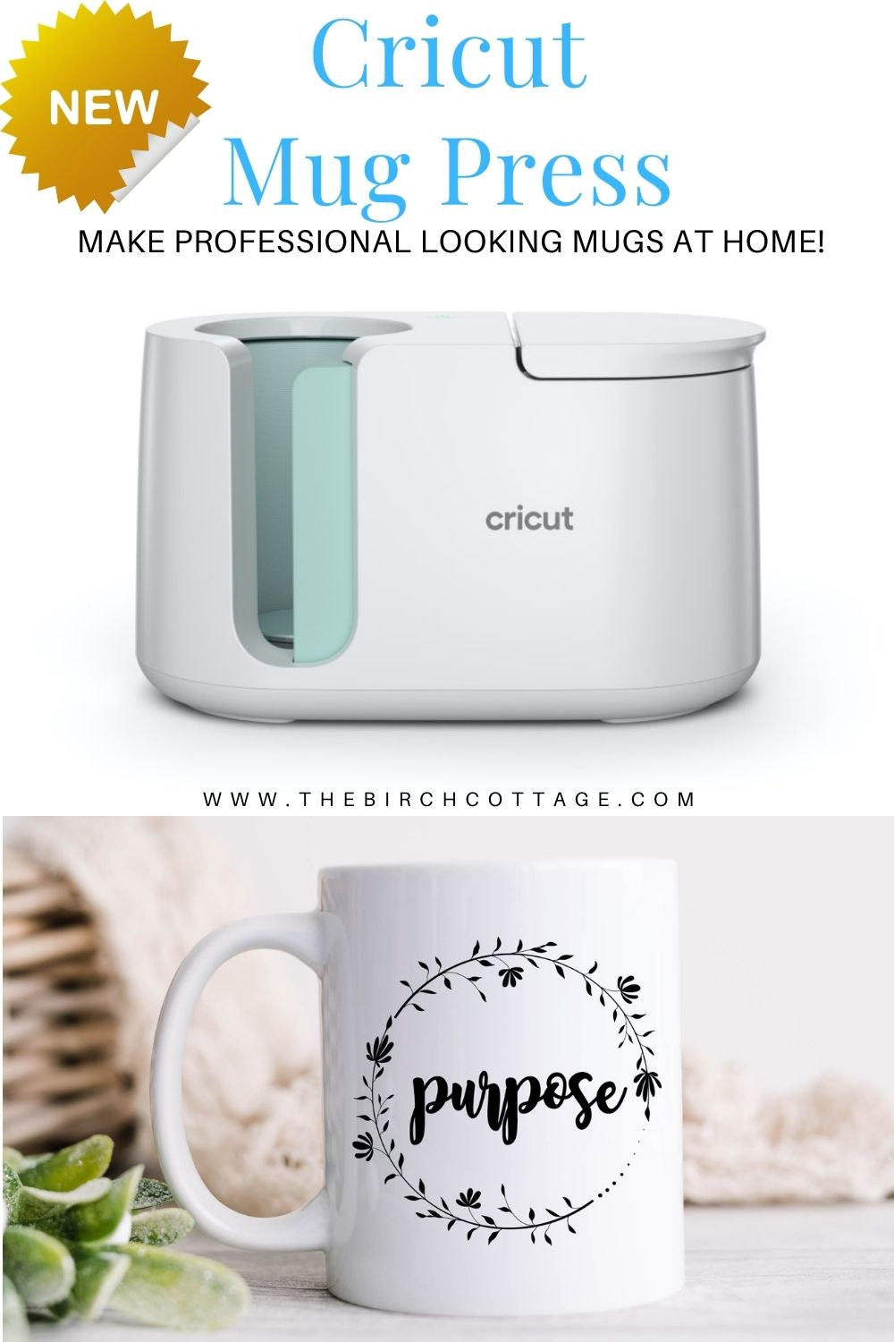 """Cricut Mug Press with coffee cup that says """"purpose"""" and wreath design"""