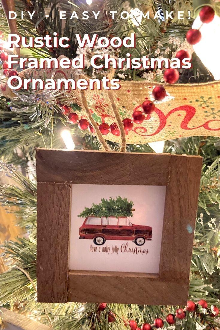 wood framed Christmas ornament
