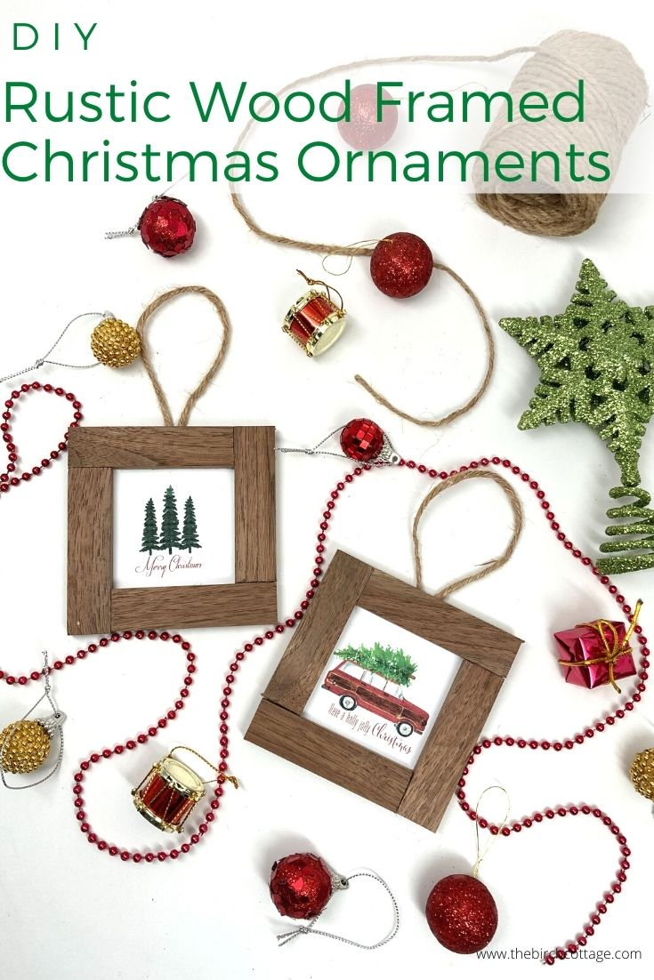 two wood framed Christmas ornaments