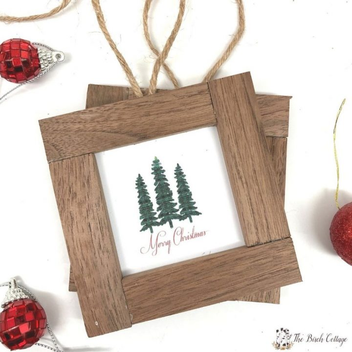 Follow this easy DIY Rustic Wood Framed Christmas Ornaments tutorial to add classic farmhouse charm to your holiday decorating.
