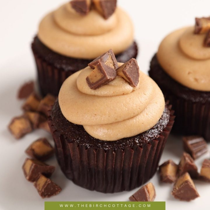 These super soft, moist and decadent Dark Chocolate Cupcakes with Peanut Butter Frosting are decadent, smooth and just plain amazing!