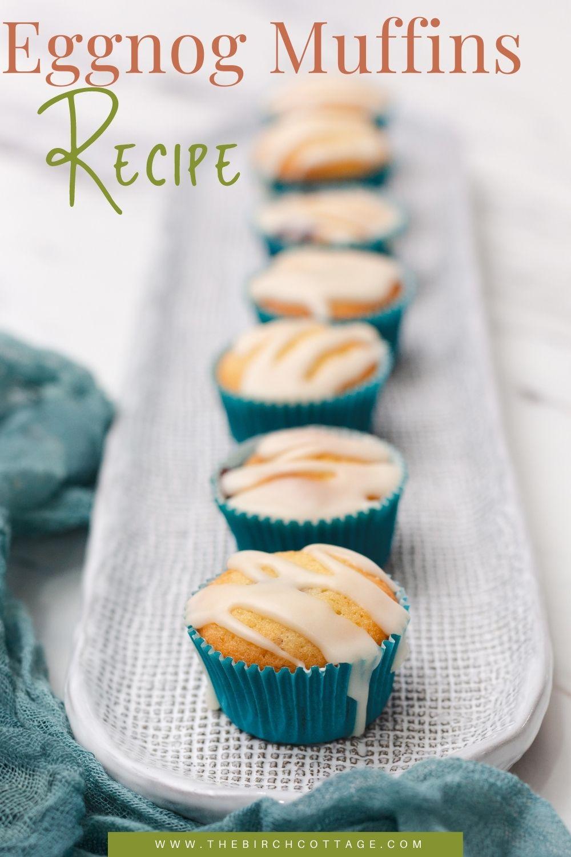 tray of glazed eggnog muffins
