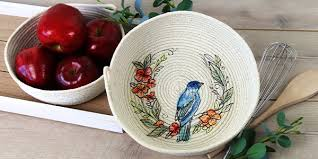 embroidered rope bowl