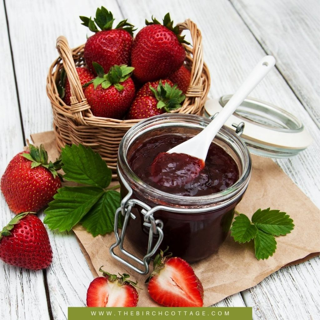 This homemade Strawberry Jam recipe, with free printable labels, is a true classic and makes about 8 half-pint jars.